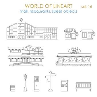 Architekturstadt öffentliches geschäftshaus, das lokales geschäft al line art style set der welt der lineart sammlung baut
