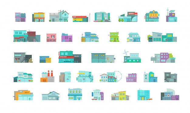 Architekturstadtgebäude großes set. stadtstraße. flache stockgrafiken. viele verschiedene detailhäuser