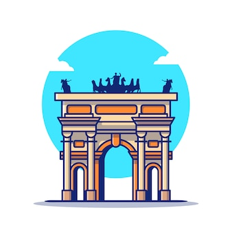 Arco della pace cartoon icon illustration. famous building travelling icon concept isoliert. flacher cartoon-stil