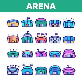 Arena gebäude zeichen icons set