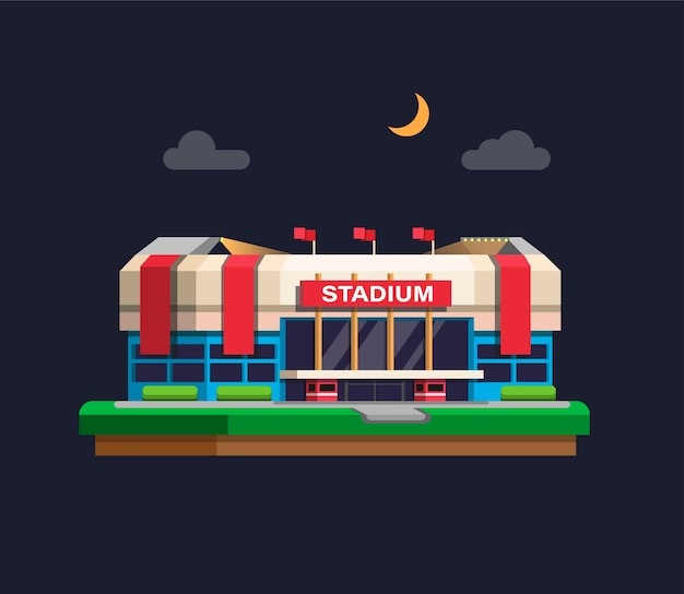 Arena-sportstadiongebäude im nachtkonzept im flachen karikatur