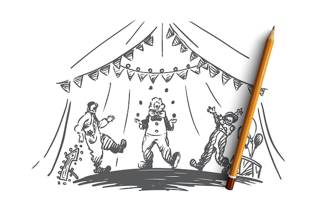 Arena, zirkus, clown, showkonzept. hand gezeichnete clowns jonglieren zeigen konzeptskizze.