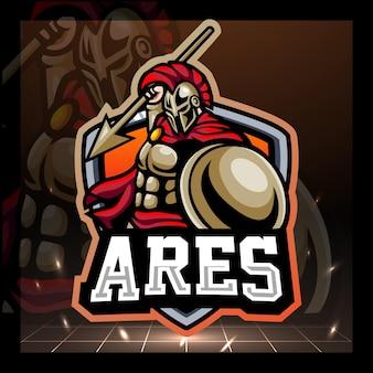 Ares griechisches maskottchen-logo-design