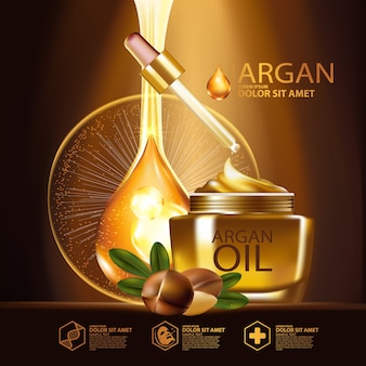 Arganöl serum serum hautpflege kosmetik Premium Vektoren