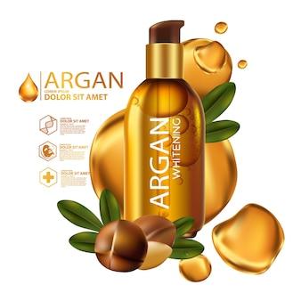 Arganöl serum und hintergrundkonzept hautpflege kosmetik