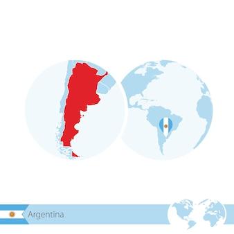 Argentinien auf der weltkugel mit flagge und regionaler karte von argentinien. vektor-illustration.