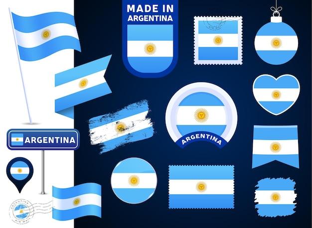 Argentinien flagge vektor-sammlung. große auswahl an designelementen der nationalflagge in verschiedenen formen für öffentliche und nationale feiertage im flachen stil. poststempel, gemacht in, liebe, kreis, straßenschild, welle
