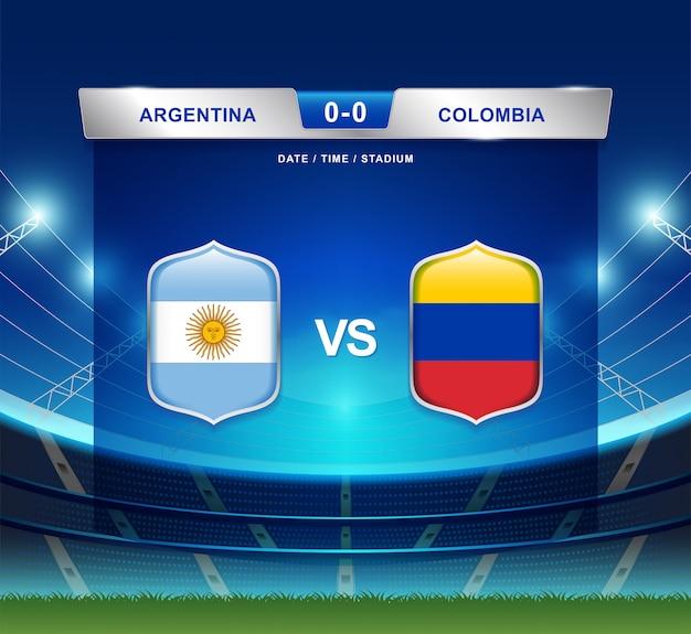 Argentinien gegen kolumbien-anzeigetafel sendete fußball copa america