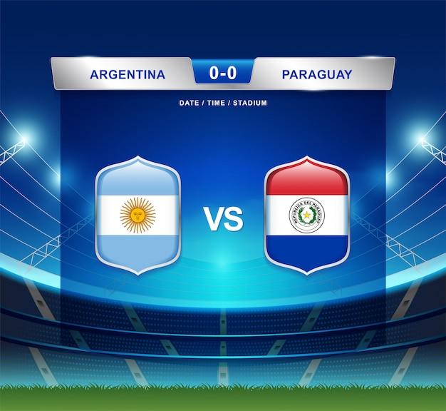 Argentinien gegen paraguay-anzeigetafel sendete fußball copa america