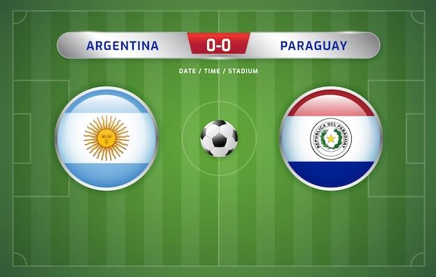 Argentinien gegen paraguay-anzeigetafel sendete fußball-südamerikaturnier 2019, gruppe b