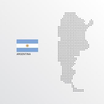 Argentinien-kartenentwurf mit flaggen- und hellem hintergrundvektor