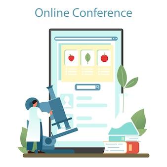 Argonomen-online-dienst oder -plattform. wissenschaftler, der agrarforschung betreibt. bio-ernteauswahl, anbau. online-konferenz. vektor-illustration