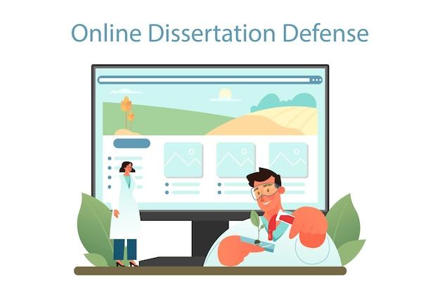 Argonomen-online-dienst oder -plattform. wissenschaftler, der agrarforschung betreibt. bio-ernteauswahl, anbau. online-verteidigung von dissertationen. vektor-illustration