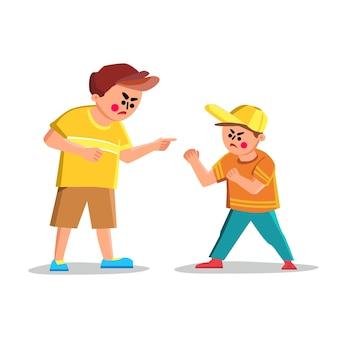 Argumentieren sie junge, der mit verärgertem freund-kind-vektor schreit. argumentieren sie jungenschrei und missbrauch von kindern, konfrontation und uneinigkeit. charaktere kinder streiten sich zusammen flache cartoon-illustration