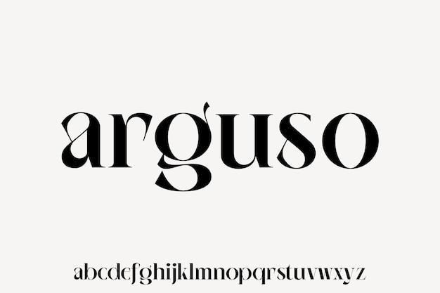 Arguso der luxuriöse und elegante schrift-glamour-stil
