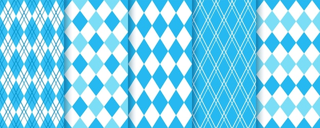 Argyle nahtloses muster. raute blaue rautenhintergründe. bayerische oktoberfest-texturen.