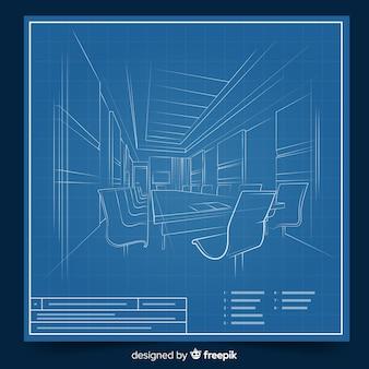 Arhitectural lichtpause 3d eines gebäudes