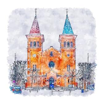 Arhus dänemark aquarell skizze hand gezeichnet