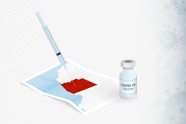 Arizona-impfung, injektion mit covid-19-impfstoff in der karte von arizona.