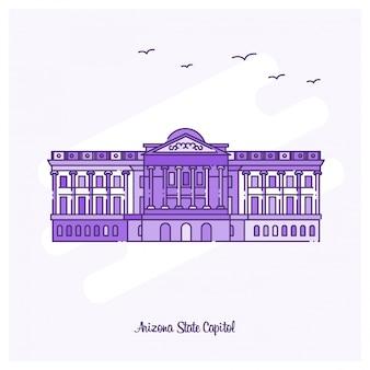 Arizona-staat-kapitol-markstein-purpurrote punktierte linie skyline-vektorillustration