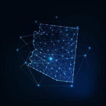 Arizona state usa karte leuchtende silhouette umriss