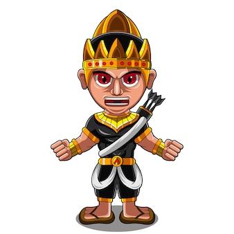 Arjuna bogenschütze chibi maskottchen logo