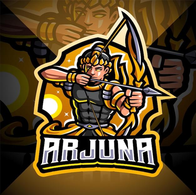 Arjuna bogenschütze esport maskottchen logo design