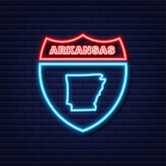 Arkansas state map neon-symbol. vektor-illustration.