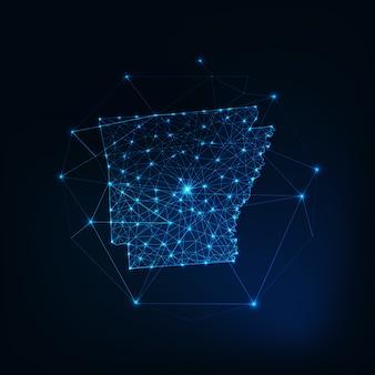 Arkansas state usa karte leuchtende silhouette umriss aus sternen linien punkte dreiecke, niedrige polygonale formen. kommunikations-, internet-technologie-konzept. drahtmodell futuristisch
