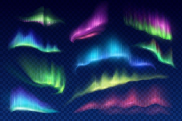 Arktische aurora borealis, polarlichter, nördliche naturphänomene isoliert auf transparent