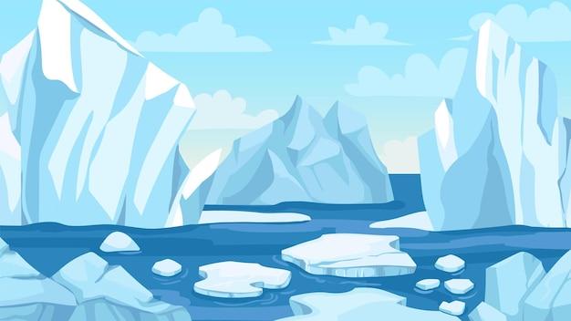 Arktische landschaft im zeichentrickfilm