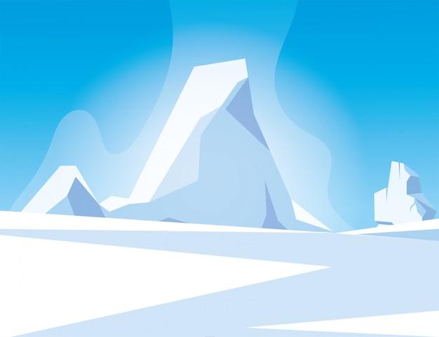 Arktische landschaft mit blauem himmel und eisberg, nordpol