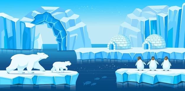 Arktische landschaft mit eisbergen, iglu, eisbären, pinguinen und meer oder ozean. cartoon-illustration für spiele und mobile anwendungen.