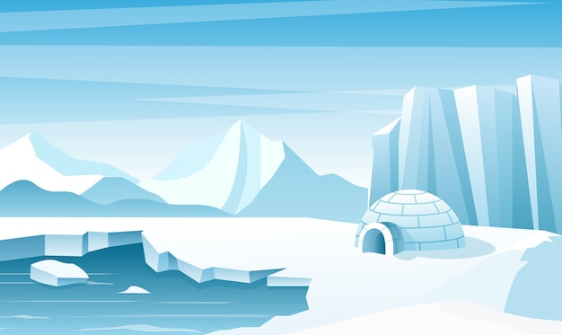 Arktische landschaft mit flacher illustration des eisiglos. haus, hütte aus schnee gebaut. eisberge