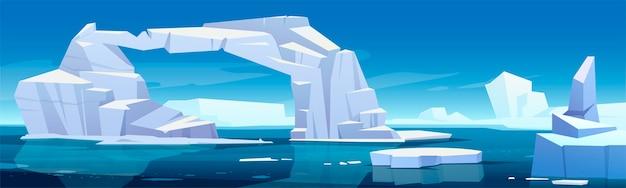 Arktische landschaft mit schmelzendem eisberg und im meer schwimmenden gletschern. konzept der globalen warnung und des klimawandels. karikaturillustration des polaren oder antarktischen eises im blauen ozeanwasser