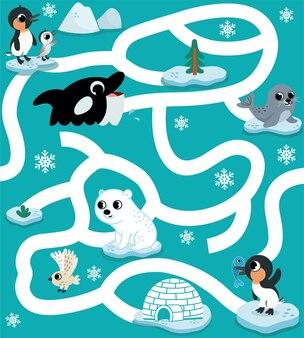 Arktische tiere labyrinth-spiel für kinder vektor-illustration