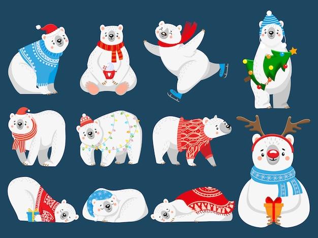 Arktischer bär mit neujahrsgeschenken, glückliches schneetier in karikaturillustrationssatz des frohen weihnachtspullovers