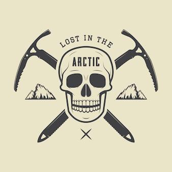 Arktischer schädel der weinlese mit eisäxten