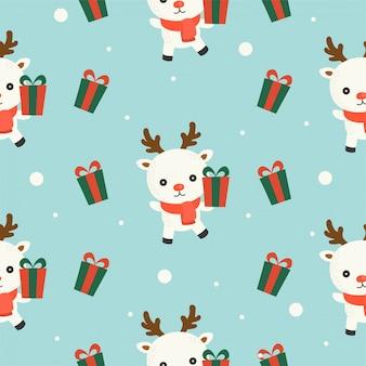 Arktisches Ren und Geschenkbox, nahtloses Musterthema des Weihnachten