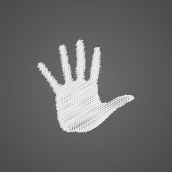 Arm-skizze-logo-doodle-symbol auf dunklem hintergrund isoliert