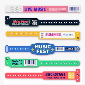 Armband-kunststoff-event-zugangsvektor-set-vorlage unterschiedlicher stil für id-fanzone oder vip-party