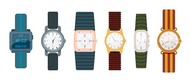 Armbanduhr lokalisiert auf weißem hintergrund. digitale und klassische uhrenkollektion von mann und frau im flachen design. kollektion modeuhren für geschäftsmann, smartwatch.