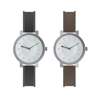 Armbanduhr mit weißem zifferblatt und schwarzem armband