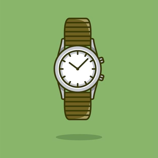 Armbanduhr vektor icon illustration uhr im cartoon-stil