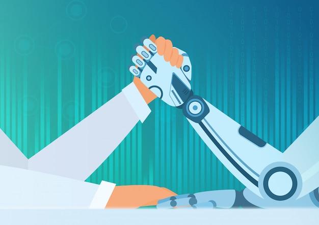 Armdrücken mensch mit einem roboter. konzept der künstlichen intelligenz. kampf zwischen mensch und roboter.