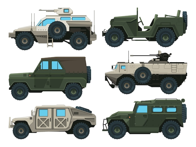 Armeefahrzeuge eingestellt. farbige vektorzeichnungen