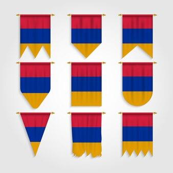 Armenien flagge in verschiedenen formen