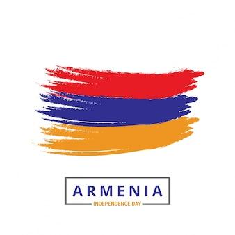 Armenien-pinselstrich-flagge mit unabhängigkeitstag-beschriftung