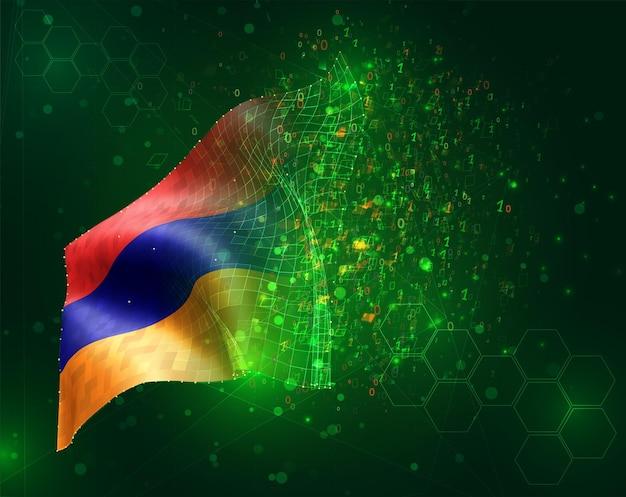 Armenien, vektor-3d-flagge auf grünem hintergrund mit polygonen und datennummern