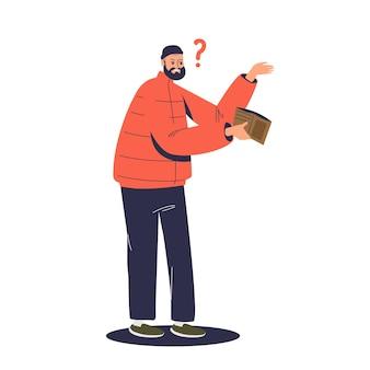 Armer mann mit leerer brieftasche. finanzielle probleme und konkurskonzept. trauriger geschäftsmann, der kein geld hat